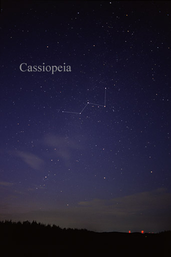 Constellation Cassiopeia in the night sky.
